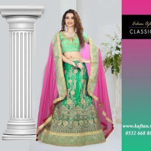 Pembe Yeşil Hint Kıyafeti