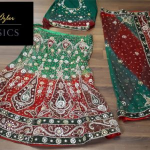 Yeşil Kırmızı Hint Kıyafeti
